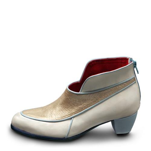 """דגם Snow בצבע לבן וזהב, עם עקב 3 ס""""מ - נעליים אונליין, נעלי נשים מיקה דרימר"""