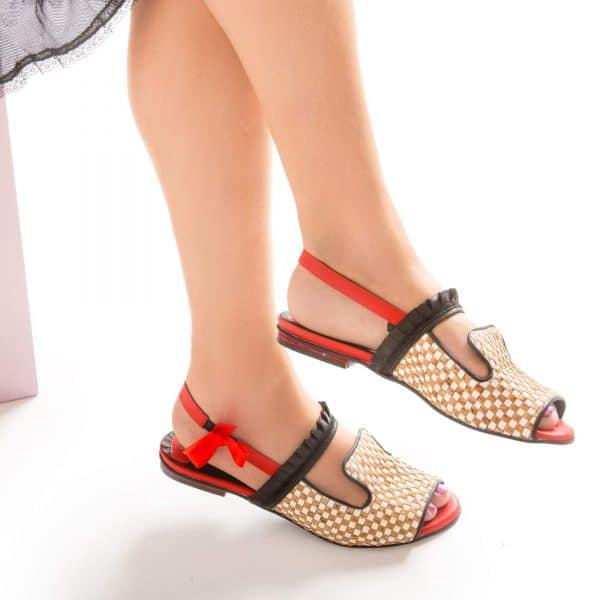 סנדלים לנשים בגוון אדום, נעלי נוחות ללא פשרות - נעליים אונליין, נעלי נשים מיקה דרימר