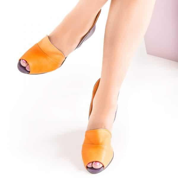 סנדלי עקב מעור - נעליים אונליין, נעלי נשים מיקה דרימר